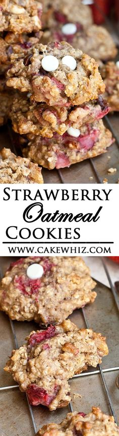 These healthy roasted STRAWBERRY OATMEAL COOKIES are crispy on the outside but soft and chewy on the inside. They are also packed with white chocolate, dark chocolate and coconut! Every bite is just s (Dark Chocolate Oatmeal) Best Cookie Recipes, Brownie Recipes, Sweet Recipes, Baking Recipes, Strawberry Oatmeal, Strawberry Cookies, Strawberry Recipes, Homemade Cookies, Yummy Cookies