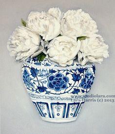 CUSTOM Still Life - White Peonies in a Ming Vase . . . . .16x20 Original OIL Painting by LARA Ginger Jar
