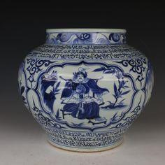 Huge Chinese Antique Blue and White Porcelain Jar Vase