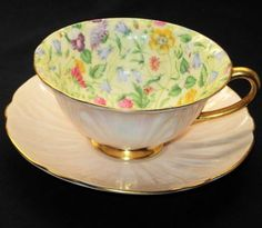 SHELLEY OLEANDER COUNTRYSIDE TEA CUP AND SAUCER