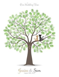 Items similar to Fingerprint Wedding Tree Guest Book Poster - Engagement Tree Squirrels Guestbook Alternative Print - inches - Thumbprints on Etsy Wedding Tree Guest Book, Guest Book Tree, Tree Wedding, Wedding Guest Book, Fingerprint Wedding, Fingerprint Tree, Book Posters, Personalized Wall Art, Cat Colors