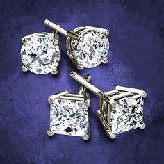 Diamond Stud Earrings White Gold For Men Women Pearl Hoop