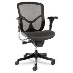 Alera EQ Series Ergonomic Multifunction Mid-Back Mesh Chair, Black Base A high-tech aesthetic chair with premium ergonomic features. Mesh Chair, Mesh Office Chair, Home Office Chairs, Home Office Furniture, Black Furniture, Furniture Sale, Office Decor, Metal Chairs, Cool Chairs
