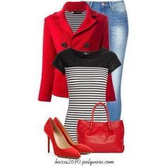 """""""Red & Stripes"""" by becca2690 on Polyvore"""