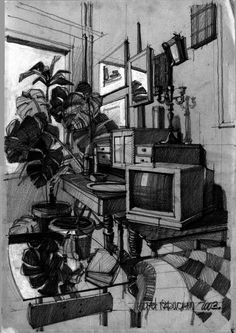 Cool Interior Sketch. Makes me miss Arch school....not to the point I want to go back though ;)