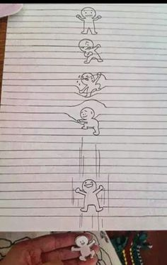 Optical illusion on lined paper.