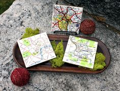 Custom Map Coasters by TheWriteStuffDesign on Etsy, $25.00