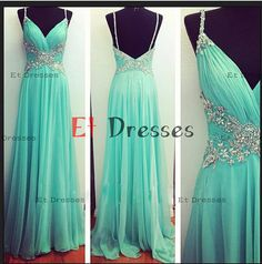 V-neck spaghetti straps sleeveless with crystal beads prom dresses ,evening dresses on Etsy, $129.00