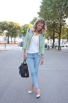 """Jacket: MSGM, jeans: Frame Denim, shoes: Valentino """"Rockstud"""", bag: Louis Vuitton """"Montaigne GM"""""""