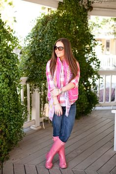 Spring-Rain-Hunter-Hair-Makeup-Blogger-Blog-Fashion-Style-Boots-Vest-J.Crew-Tory Burch-Nordstrom-Jeans-Casual-Macaroons-Scarf-Pink-Rebecca Minkoff