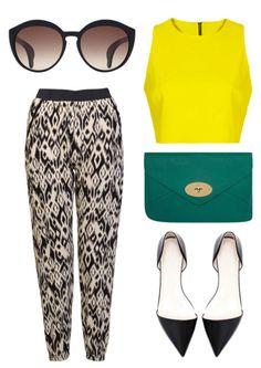California Trends || Bottega Veneta cat eye sunglasses, crop top, Mulberry Willow clutch, Zara pointed toe flats, Tribal print harem trouser