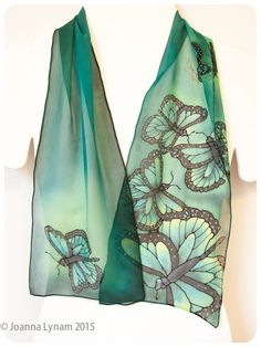 """Hand painted silk scarf. Butterfly silk scarf. Monarch Butterfly scarf. hand-painted silk scarves. 8""""x52"""" OOAK. Silk scarf hand painted by SirenSilks on Etsy"""