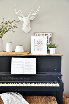 """Cute piano """"mantle""""  if I have to choose between a fireplace and a piano, we're getting a piano ☺️"""