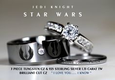 I like the thin one-STAR WARS Tungsten and 925 Sterling Silver Carat CZ Wedding Ring Set, Star Wars Galactic Imperial Empire, Rebel Alliance, Jedi Star Wars Ring, Star Wars Love, Bijoux Star Wars, Star Wars Jewelry, Wedding Star Wars, Star Wars Schmuck, Wedding Fotos, Wedding Ideas, Trendy Wedding
