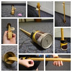 Behold: The Canjo! Made from a can, nail, wooden neck, and steel banjo string.