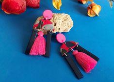 EARLINE pink earrings Pink Earrings, Drop Earrings, Minimalist Earrings, Tassels, Clay, Personalized Items, Jewelry, Design, Fashion