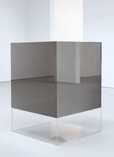 Untitled, 1969, by Larry Bell  Mineral coated glass