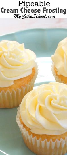 An AMAZING recipe for Pipeable Cream Cheese Frosting! You will love this recipe! My Cake School.