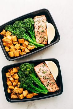 Sallad, sweet potato, salmon, brocolli