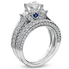Vera Wang LOVE Collection 2-3/4 CT. T.W. Princess-Cut Diamond Three Stone Bridal Set in 14K White Gold - View All Rings - Zales  This is why I'll never be married!! Super high standards here! I LOVE this ring!!