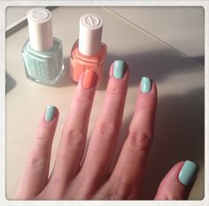 I painted mine like this:  main colour-OPI Kiss Me On My Tulips, index finger on left hand-OPI Did It On 'Em, ring finger on right hand-OPI Do You Lilac It?