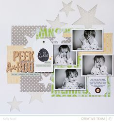 Peek A Boo - Studio Calico South of Market collection - Kelly Noel Baby Scrapbook Pages, Papel Scrapbook, Scrapbook Sketches, Scrapbook Page Layouts, Scrapbook Paper Crafts, Scrapbook Cards, Scrapbook Supplies, Scrapbooking Digital, Scrapbooking Photo