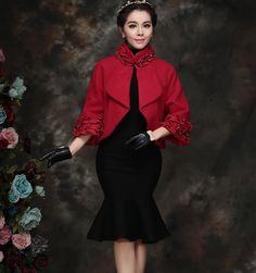 Yu Xi 2016 mùa xuân phụ nữ tính khí mới len cổ áo khoác nữ đoạn ngắn áo đỏ áo choàng -tmall.com Lynx