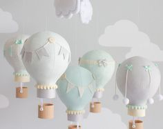 Hot Air Balloon Baby Mobile Pink and Gray by sunshineandvodka