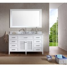 Shop for ARIEL Kensington 61-inch Single Sink White Vanity Set. Get free delivery at Overstock.com - Your Online Furniture Outlet Store! Get 5% in rewards with Club O!