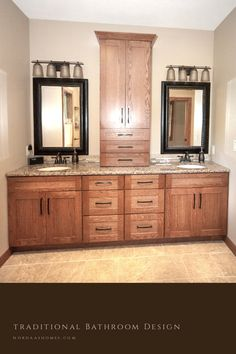 This traditional bathroom design gives you a great style for a timeless look in your new house build or renovation project. Custom home built by Nordaas Homes. Modern Farmhouse Bathroom, Classic Bathroom, Modern Bathroom Design, Farmhouse Design, Bath Powder, Powder Room, Interior Ideas, Interior Design, Traditional Bathroom