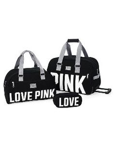 Packing made easy as 1, 2, 3! The 3-Piece Travel Set from Victoria's Secret PINK keeps all your stuff safe and looks cute doing it. Perfect for the fashionable girl on the go, in durable cotton canvas. The set includes medium wheelie, duffle and makeup case.