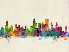 chicago skyline painting - Google Search