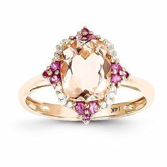 14k Rose Gold Genuine Morganite, Diamond and Pink Sapphire Ring , - Sparkle & Jade