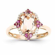 14k Rose Gold Genuine Morganite, Diamond and Pink Sapphire Ring , - Sparkle & Jade