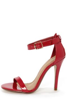 Check it out from Lulus.com! Your new dancing shoes are ready and waiting for a spin on the dance-floor! The My Delicious Chacha Lipstick Red Patent Single Strap High Heels keep it simple with a thin red toe strap in shiny patent vegan leather, paired with a sleek heel cup and ankle strap that adjusts with a golden buckle (and hidden elastic). Strut your stuff in a 4.5