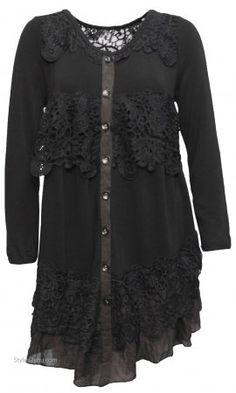Everett Ladies Long Sleeve Vintage Lace Shirt Dress Duster Black