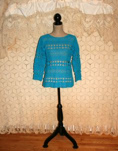 Blue Crochet Sweater Hand Knit Sweater Cotton Tunic Crochet Lace Top Hippie Boho Top Rebecca Stone Hand Knit Size Large Womens Clothing