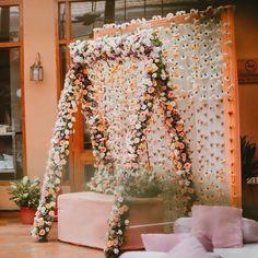 Decor: Royal Weddings & Events Goa   📸: Niko Photoworld   Pastel weddings   Bridal seat   Mehendi decor ideas   #pastel #pastelwedding #mehendi #mehendidecor #bride #bridalinspiration #indianweddingdecor #weddinginspiration #flowers #backdrop #wittyvows Desi Wedding Decor, Floral Wedding Decorations, Wedding Set Up, Floral Centerpieces, Mehendi Decor Ideas, Mehndi Decor, Floral Backdrop, Floral Curtains, Mehndi Designs