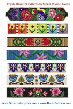 Peyote Bead Bracelet Patterns by Sigrid Wynne-Evans at Bead-Patterns.com. Lots of free beading patterns and tutorials on this site!