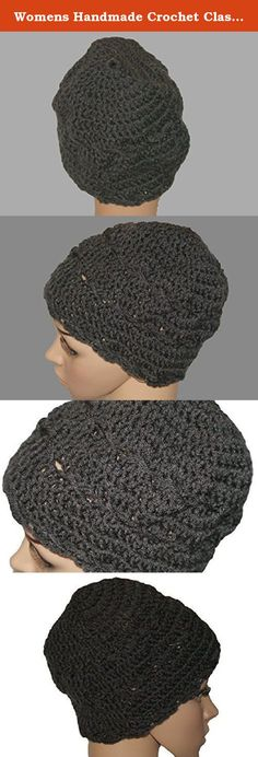 """Womens Handmade Crochet Classic Black Slouch Hat, Toque, Hipster Hat, Skull Cap. This black womens winter beanie will keep you warm and stylish on a cold day. The black crochet hat is 8"""" long and fits a standard 21-23"""" head. Cross stitch detailing around the band adds just the right touch of detail. The color of this hat is graphite. Ready to ship."""