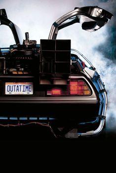 Back to the Future Back in Time the time-traveling DeLorean classic movie poster Carros Lamborghini, Digital Foto, Future Wallpaper, Arte Nerd, Bttf, Classic Movie Posters, Ready Player One, New Poster, Film Serie