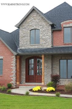 Delightful Brick U0026 Stone Custom Home Exterior
