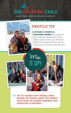 Adoption profile tip from Our Chosen Child- Mix it up! Bring several tops and accessories to your photo shoot! Your photos will go way further and it will add lots of variety to your profile.