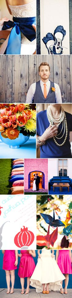 vibrant blue, orange and pink wedding color palette inspiration board