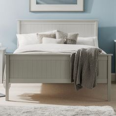 The Maine wooden bed frame is finished in a beautiful dove grey colour. The light grey colour is very neutral in design and can be matched with many different bedroom colours. There is also a matching Maine bedroom collection available with drawers an Bed Frame, Grey Wooden Bed Frame, Grey Bed Frame, Bed, Furniture, Bed Styling, Wooden Bedroom, Bedroom Furniture, Wooden Bed Frames