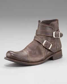 Brixton Buckle Boot, Dark Brown by John Varvatos $808. Via stylefeed.com