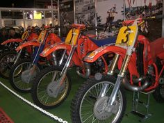 Thes bikes were riden by David Thorpe and Eric Geboers in the 500 Worl Motocross Championships Mx Bikes, Motocross Bikes, Vintage Motocross, Honda Dirt Bike, Honda Motorcycles, Motocross Championship, Factory Work, Moto Cross, Motorcycle Design