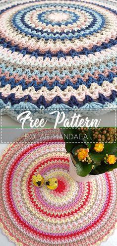 Go to the free pattern Here Free Mandala Crochet Patterns, Crochet Circles, Crochet Diagram, Crochet Blanket Patterns, Crochet Motif, Crochet Yarn, Free Crochet, Knitting Patterns, Yarn Projects