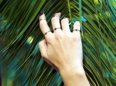 Set of 3  sterling siver pyrite rings by SAGUAROJEWELLERY on Etsy, $29.00