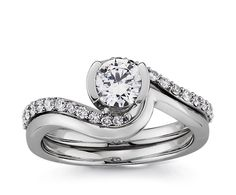 Twirl Diamond Engagement Ring with Matching Wedding Band in White Gold. Replace the main diamond with an emerald. Matching Wedding Bands, Wedding Matches, Wedding Rings, Engagement Ring Settings, Diamond Engagement Rings, Diamond Rings, Diamond Are A Girls Best Friend, White Gold Diamonds, Fashion Rings